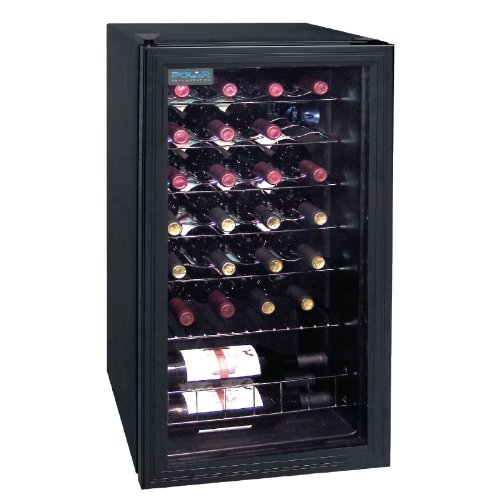 polar wine fridge holding 28 bottles of wine