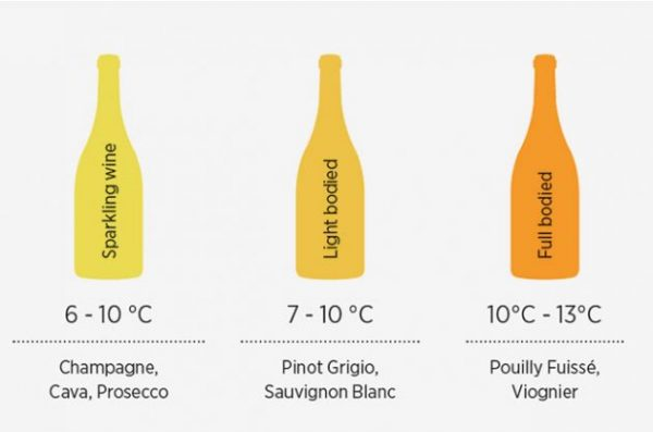 Infographic: temeratues for wines to be stored at