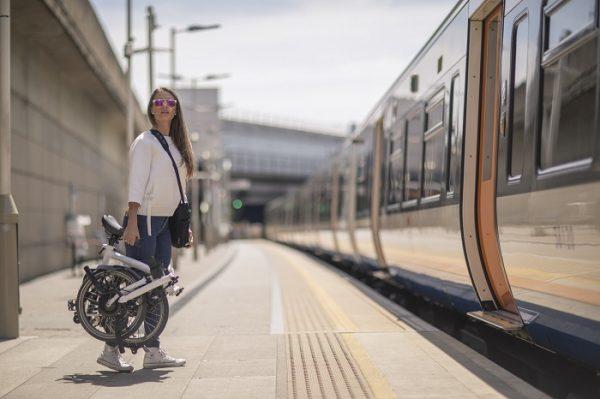 carrying a compact folding bike on a a train