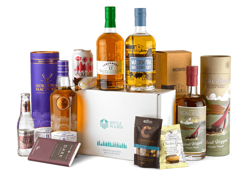 Bottle in a box whisk subscription UK. Image shows a sample of whiskies you can receive each month from a UK subscription