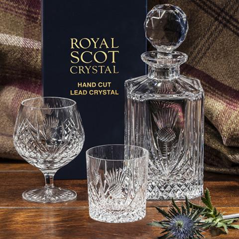 Royal Scot Crystal Scottish Thistle whisky Set