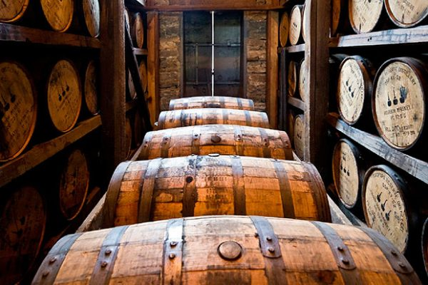 whiskey barrels for the maturation phase of whisky production